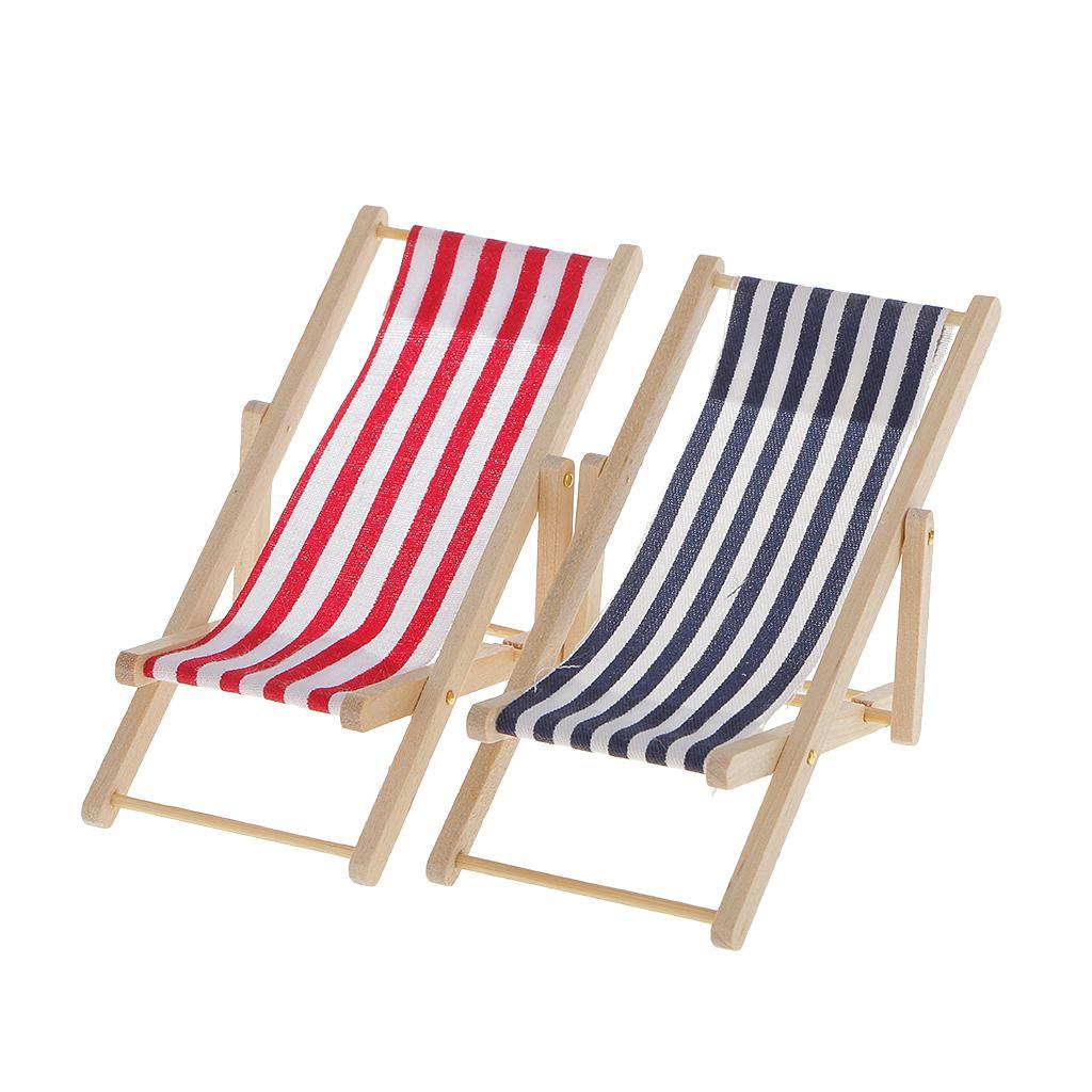 Miniatures Dollhouse 2pcs Blue//Red Stripe Lounge Beach Deck Chair Sunbath Lounge