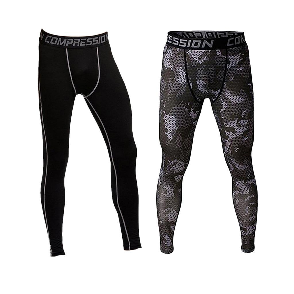 2//pack Men/'s Camo Leggings Sports Compression Pants Sports Running Trousers