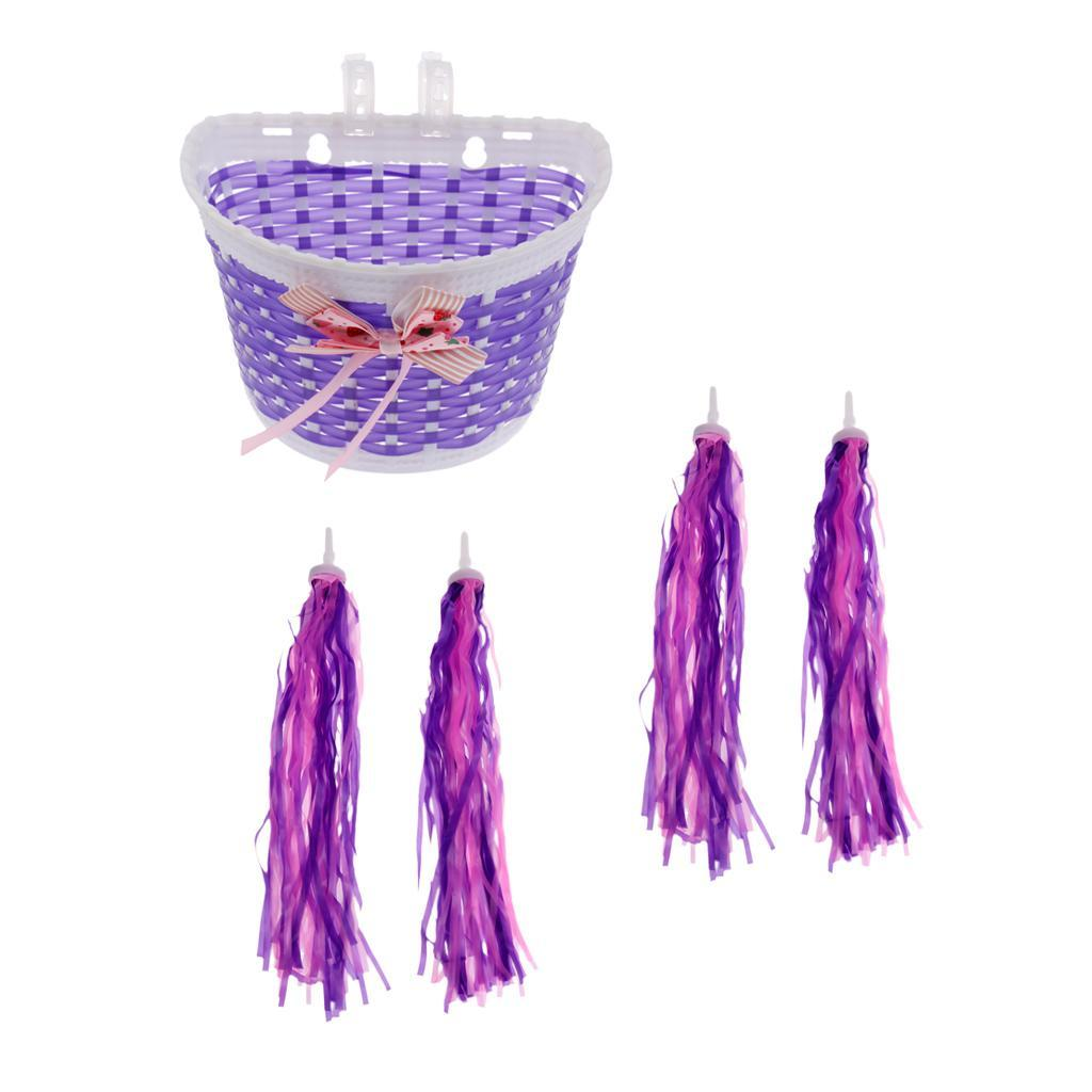 Girls Bicycle Basket With Bow Kids Bike Basket /& 2 Pair Scooter Streamers