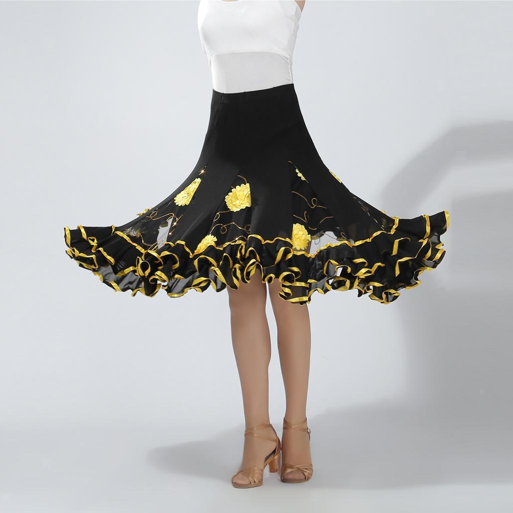 Prettyia Dance Costume Long Skirt Waltz Big Swing Modern Standard for Ballroom