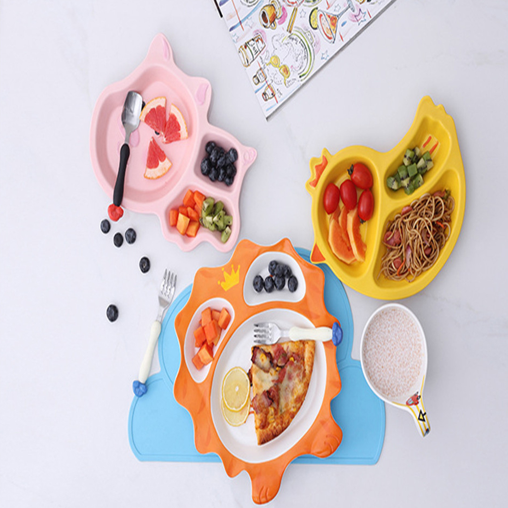 3-Section Divided Plates for Kids Camping Ceramic Dinner Plates Mess Trays