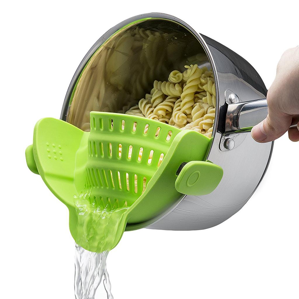 passend für jeder Größe Topf Silikon Sieb Küche Pfanne Sieb mit zwei Clips