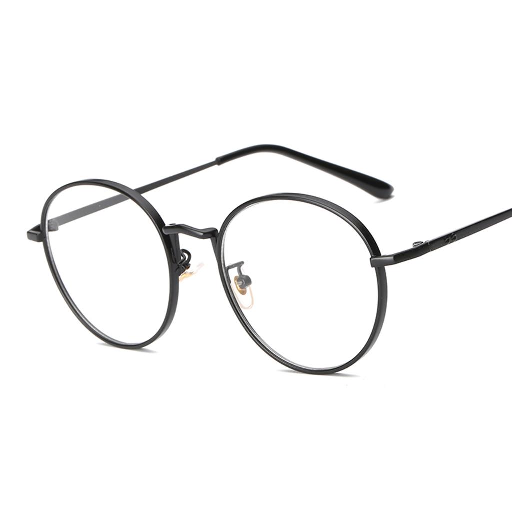 2er Pack Retro Brillen Dekogläser Nerdbrille Rund Metallahmen für Damen