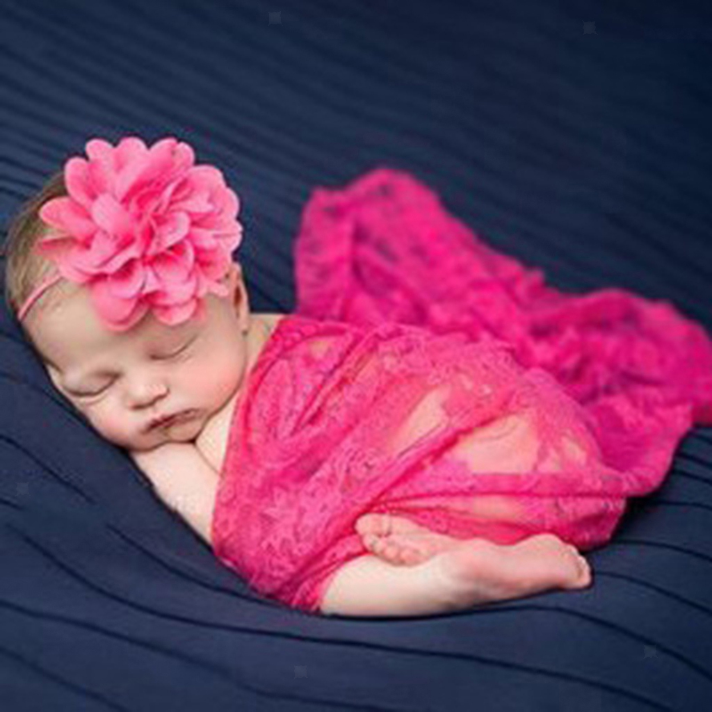 Newborn Baby Girl Boy Lace Wrap Swaddle Photography Photo Props with Headband
