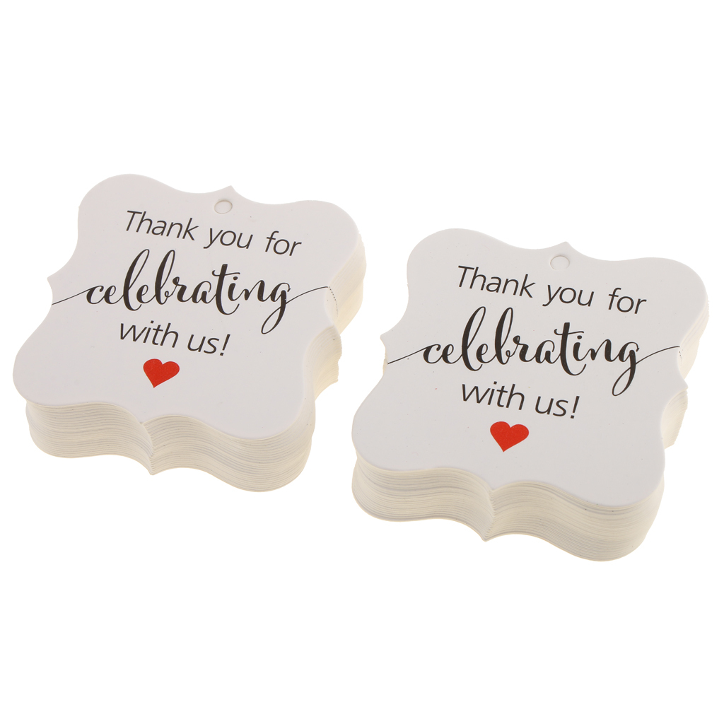 100pcs Thank You Cards Gift Tags Wedding Engagement Party Favours Bomboniere