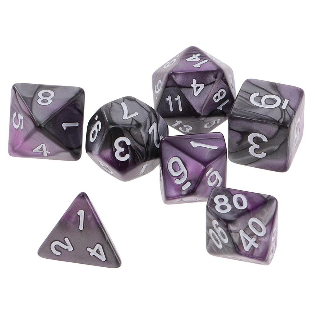 7PCS Polyhedral Dice for Dungeons and Dragons DND D20 D12 D10 D8 D6 Table Games