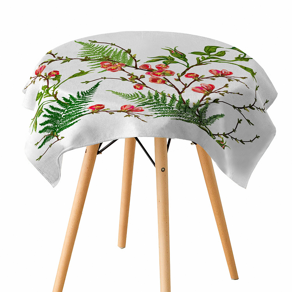 3D View Leaf Jungle Cactus Tablecloth Linen Waterproof Table Cloth for Home