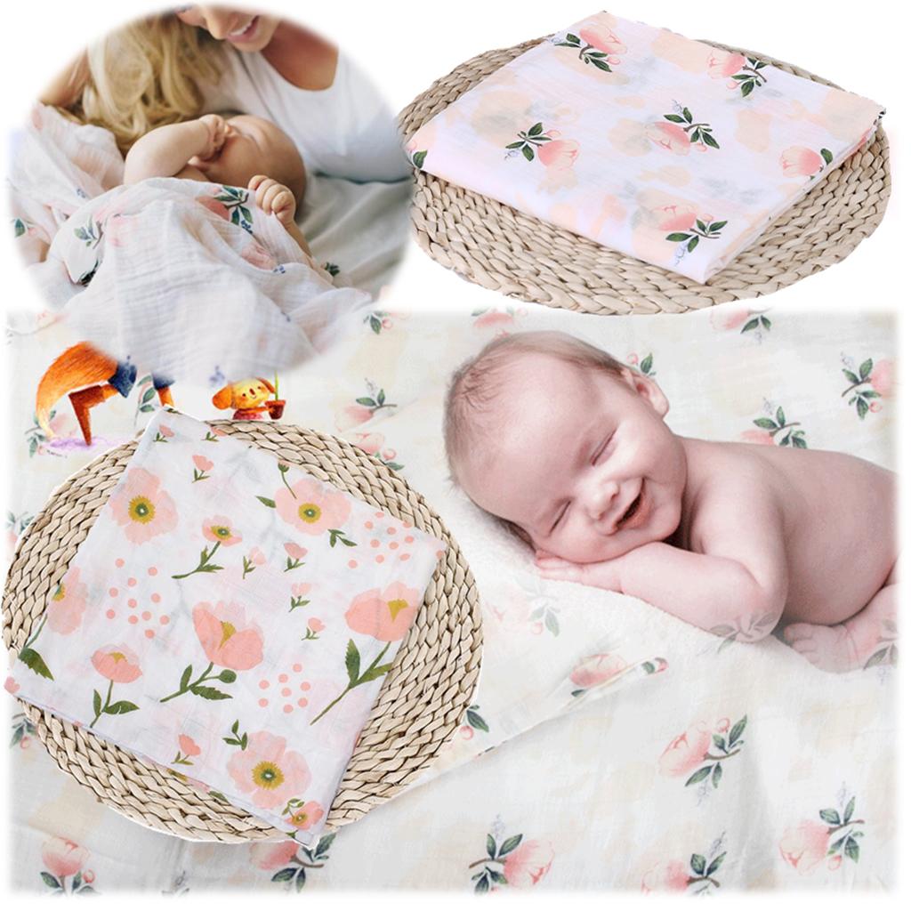 Prettyia Baby Swaddling Blanket Soft Muslin Newborn Infant Cotton Swaddle Towel
