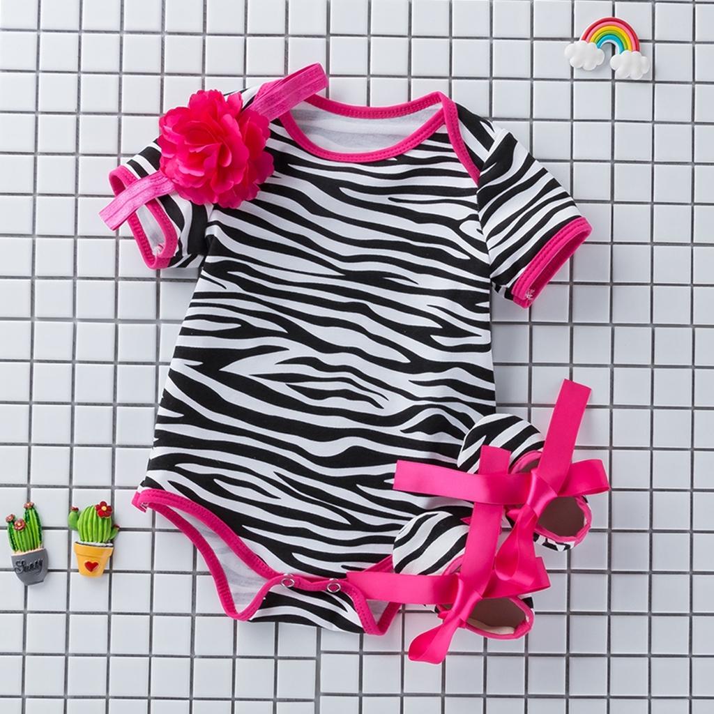 3pcs Newborn Baby Girl Floral Romper Bodysuit+Headband+Shoes Sets Clothes