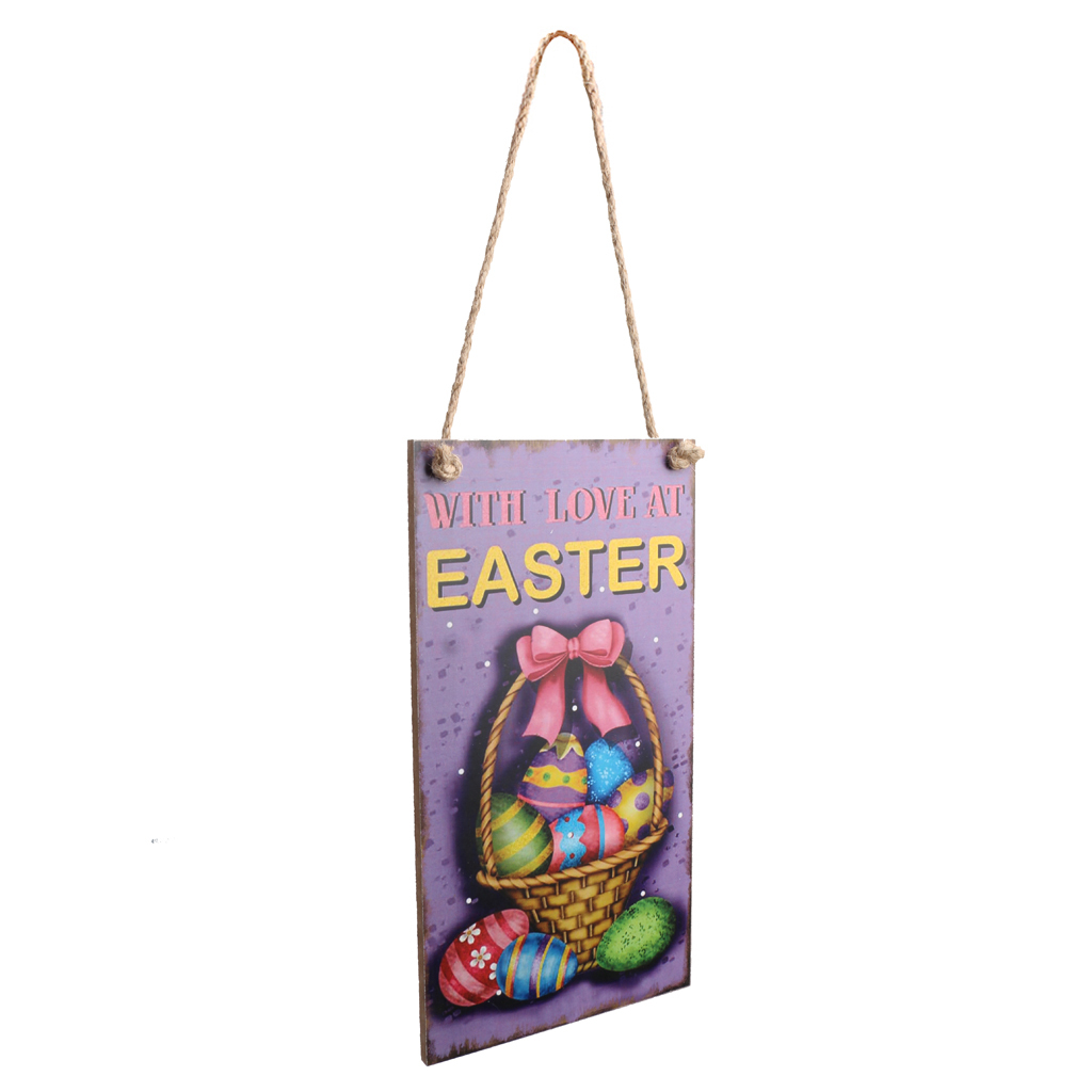 Easter Gift Wood Plaque Hanger Happy Easter Theme Decoration Photo Prop
