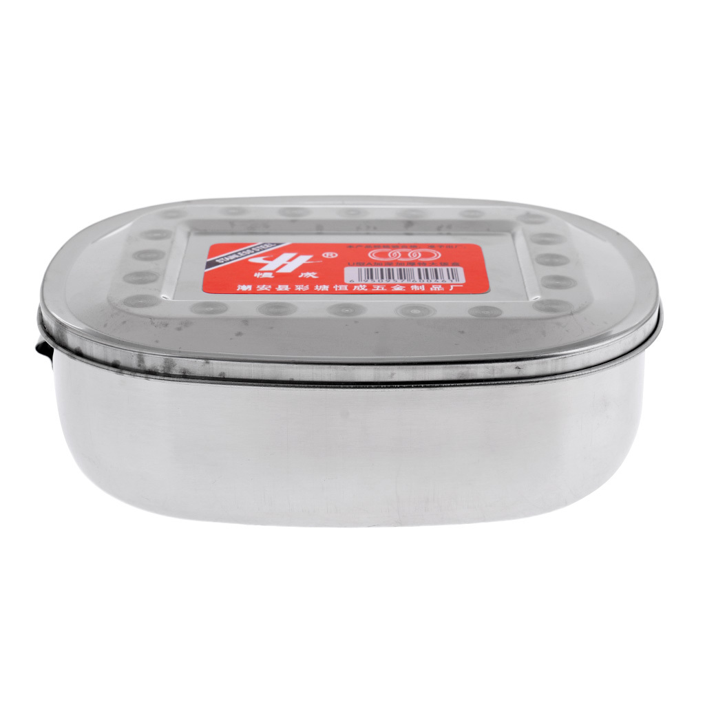 Oval Shape Student School Lunch Box Stainless Steel Outdoor Food Container