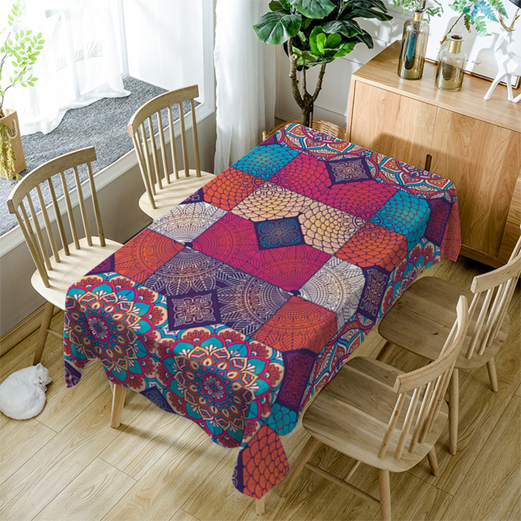 Decorative Polyester Tablecloth for Outdoor Camping,Rectangular,60-120inch