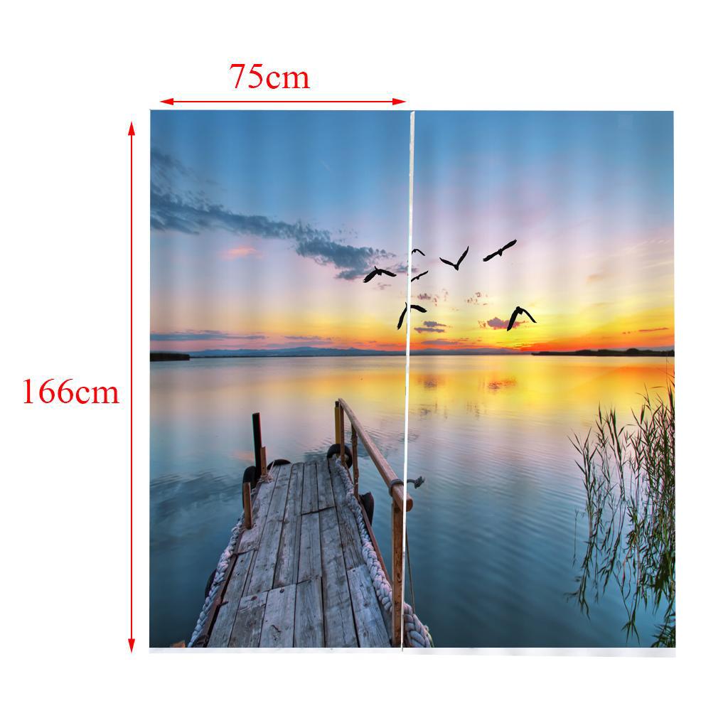 2Pcs Anti-UV Thermal Window Curtains Drape for Rod Track 65x59 Inch