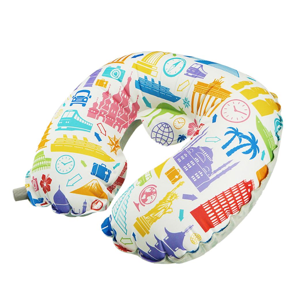 Inflatable Travel Neck Pillow Velvet Fiber Ergonomic Air Car Office Nap