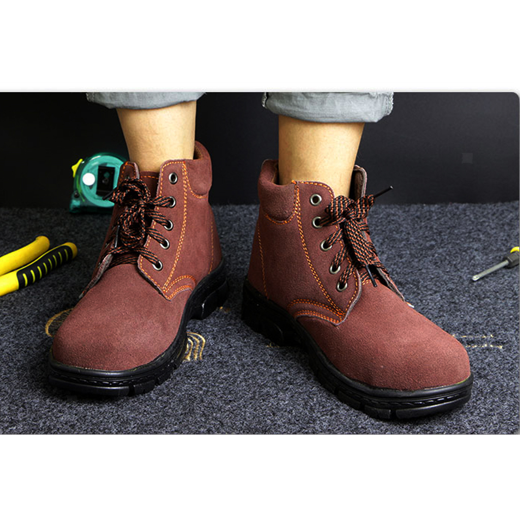 Men Safety Shoes Steel Toe Slip On Breathable Work Boots Waterproof Boots
