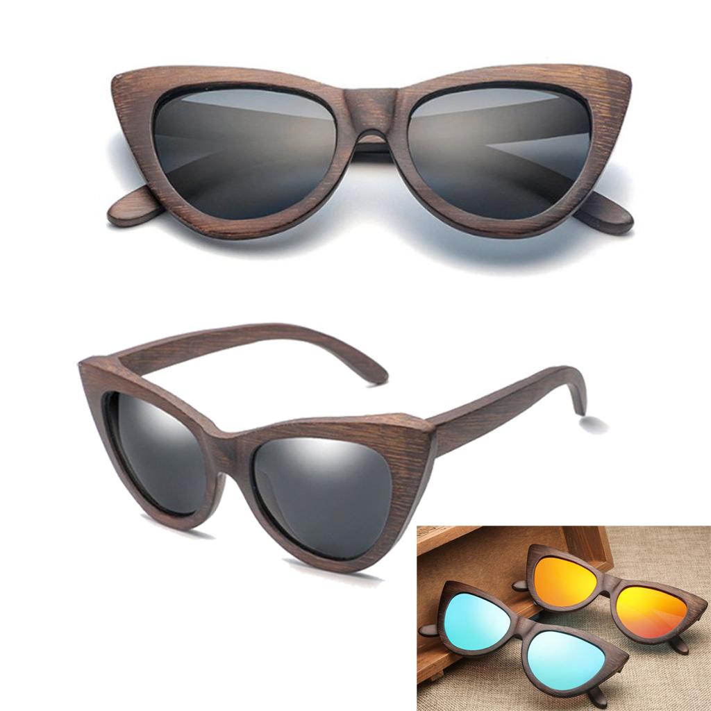 Bamboo UV 400 Polarized Sunglasses Wooden Glasses w// Wooden Case Box CAT EYE