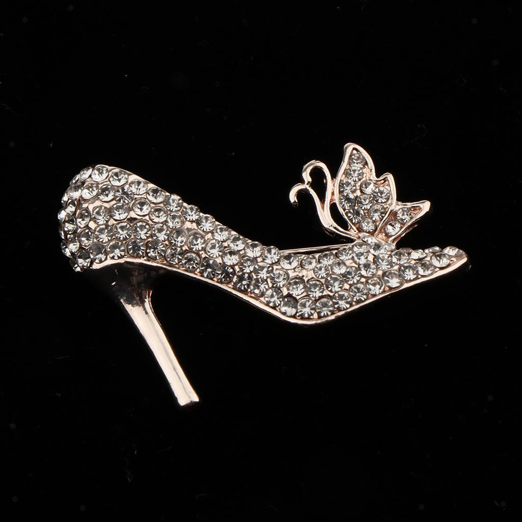 High Heels Shoes Rhinestone Crystal Diamante Brooch Wedding Bridal Broach