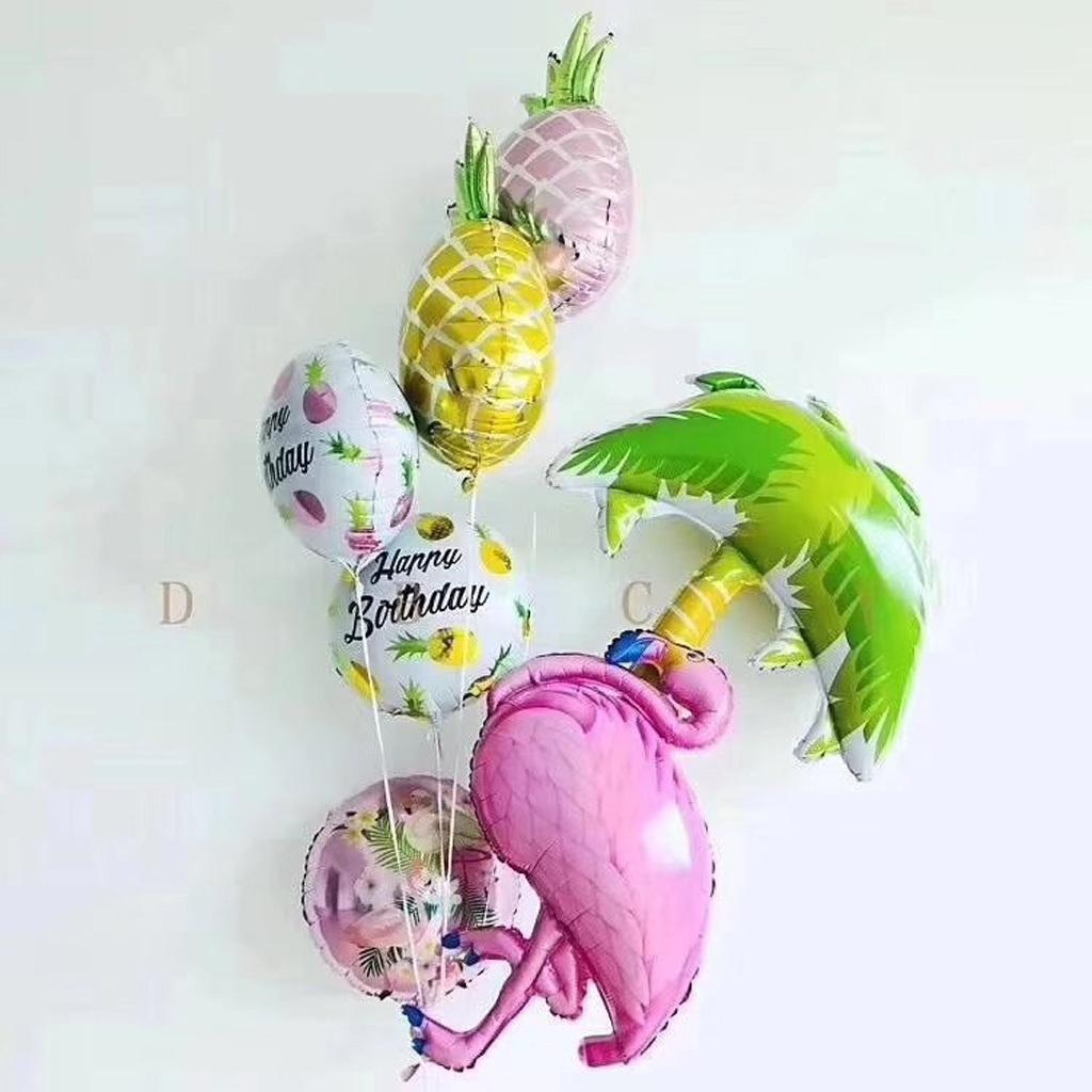5pcs Hawaiian Luau Pineapple Shape Foil Balloon Summer Beach Party Decor