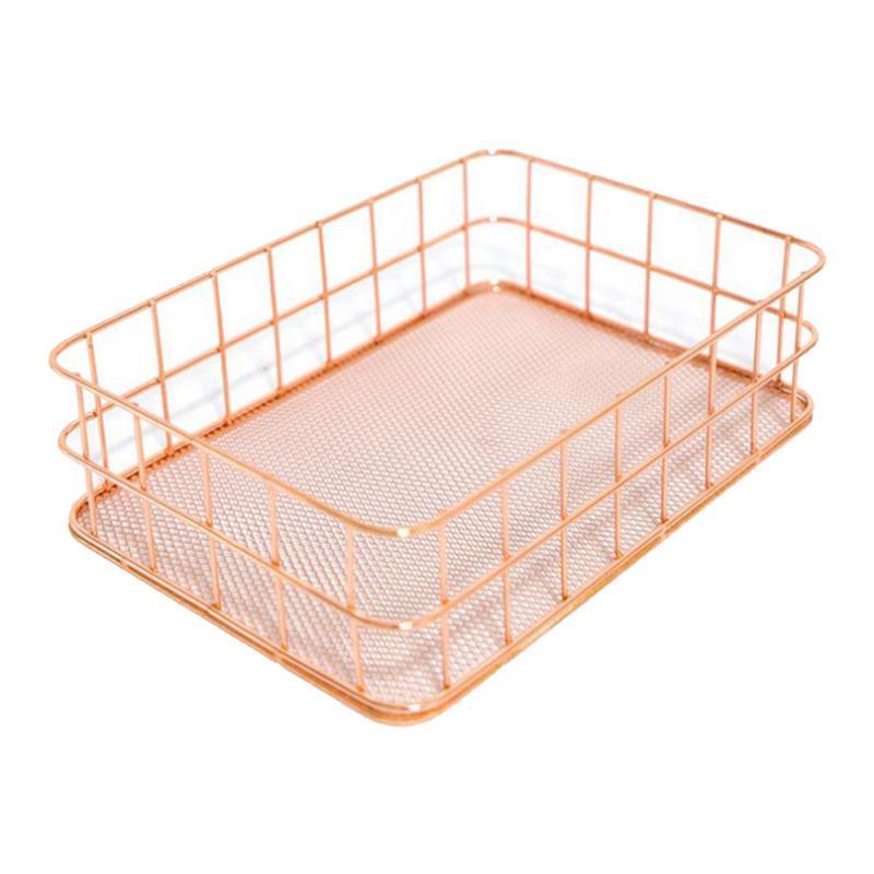 Desktop Countertop Organizer Makeup Gardern Wire Storage Basket Bin Box