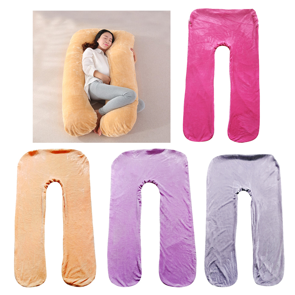 U Shape Removable Flannel Body Pillowcase for Maternity Pregnancy Support