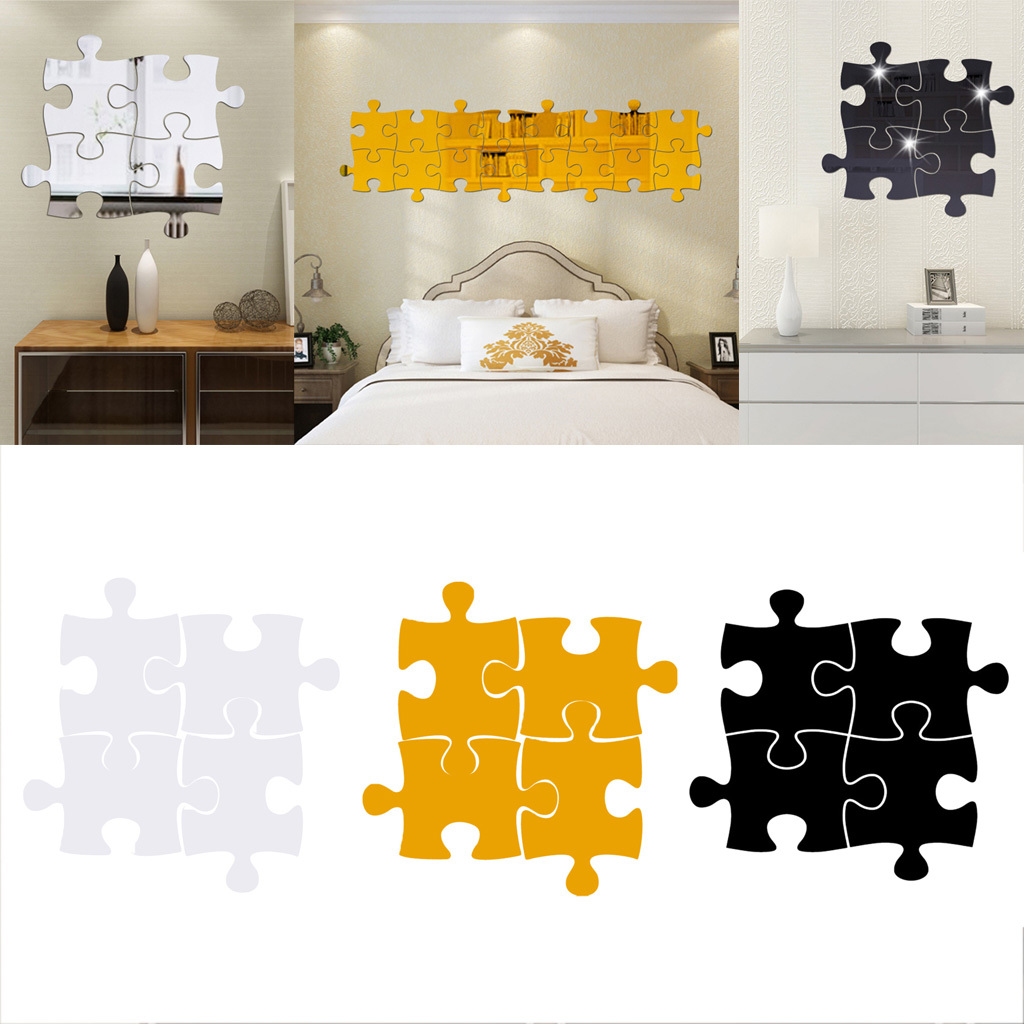 4 Pcs 3D Miroir Acrylique Sticker Mural Jigsaw Puzzle DIY Home Decor