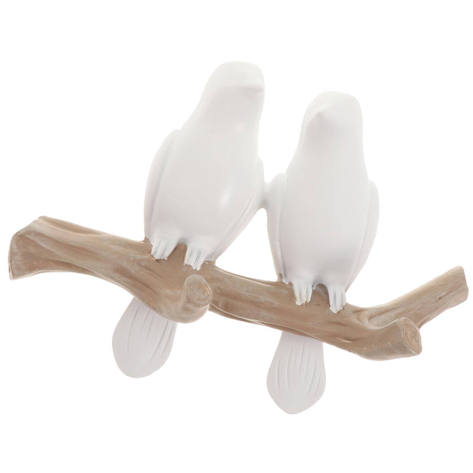 Resin Clothes Hat Bag Hanger Hook Wall Mounted Bird On Tree Branch Decor