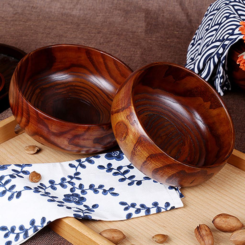 MagiDealMagiDeal Salad Bowl Round Acacia Wooden Easy Clean Salad Fruit Serving