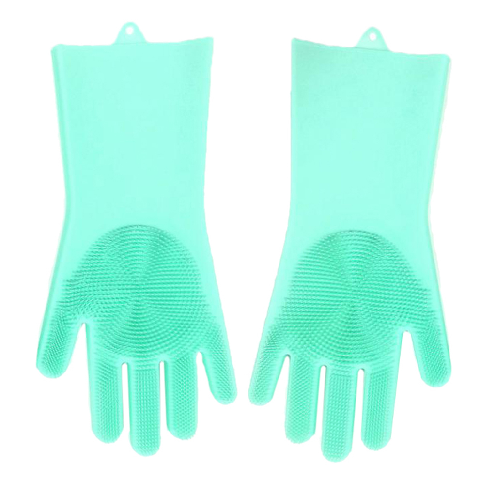 Rubber Silicone Scrubber Gloves Dish Cleaning Washing Kitchen Wash Mitten