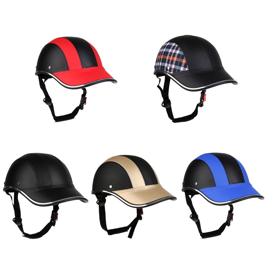 Baseball Cap Style Motorcycle Bike Helmet Anti-UV Safety Hat Visor Adjustable