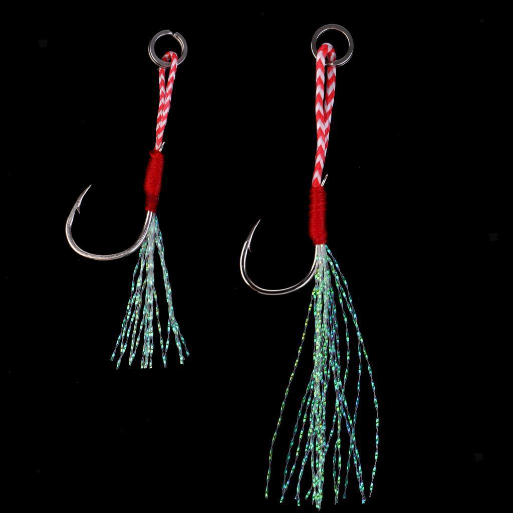 5x Saltwater Jigging Assist Hook Solid Ring Deep Sea Fishing Hooks 13//15//17#