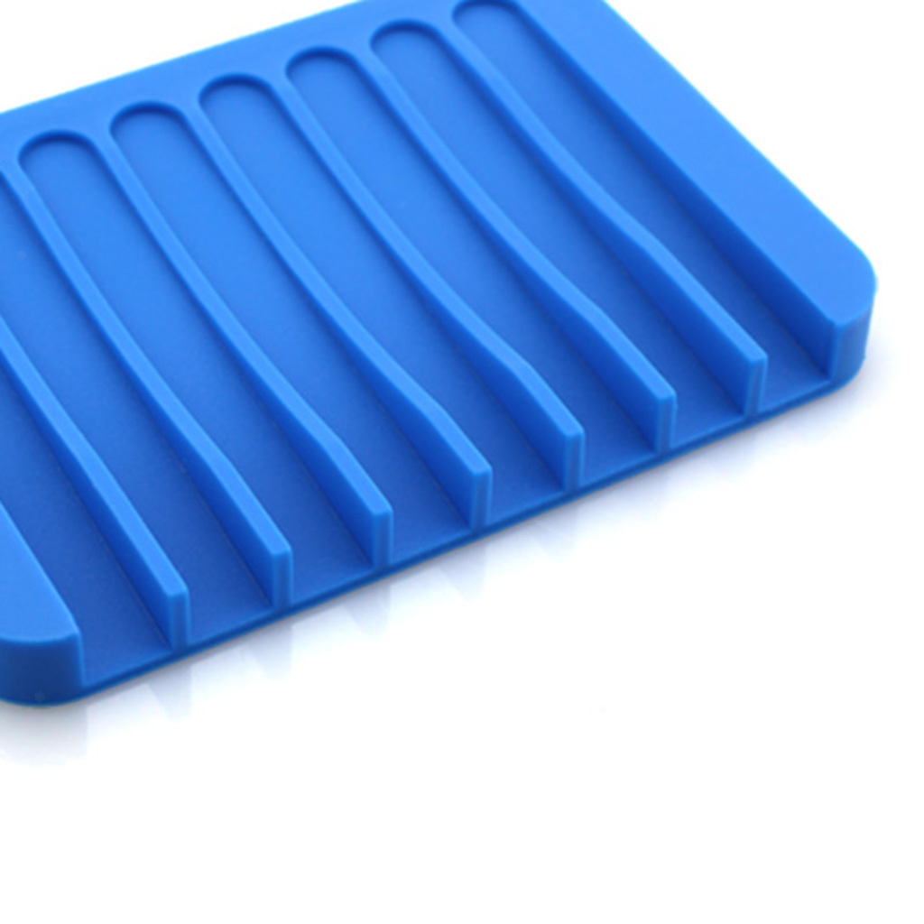 Silicone Soap Dishes Soap Tray Holder Leak-proof Drain Rack Bathroom