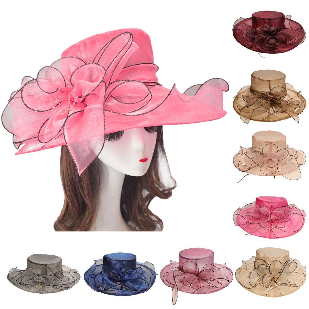 Vintage Femmes Kentucky Derby Pliable Chapeau Soleil mariage Tea Party église Cap