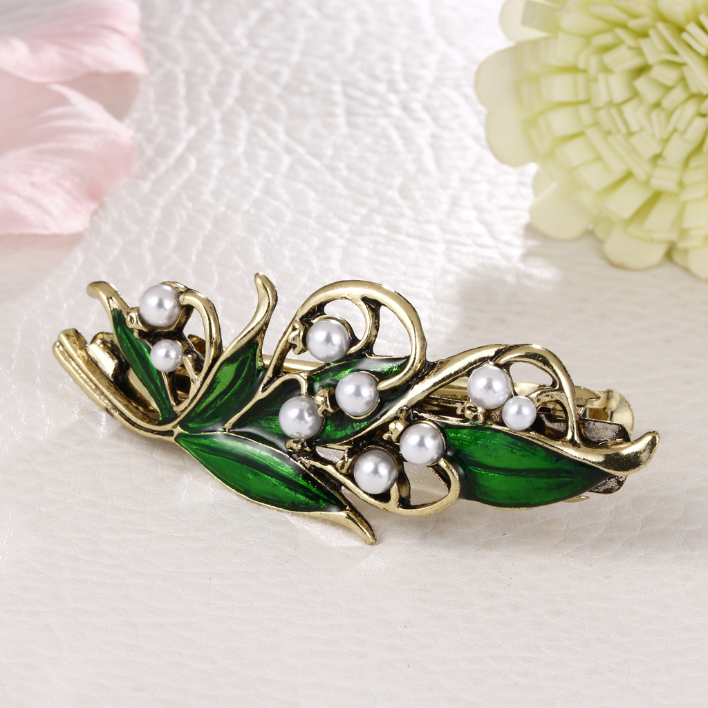 Green Rhinestone and Pearls Hair Women HeadWear Hairpin Barrette Hair Clip