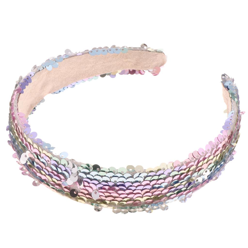 Women/'s Sequins Wide Reversible Headband Sparkly Hair Hoop Band Headwrap