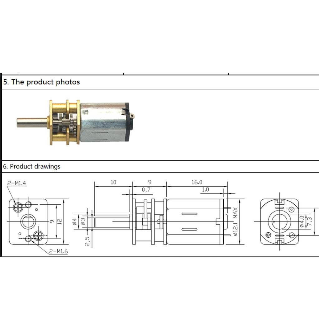 DC 6V Motor Micro 3mm Shaft Gear Motors High Torque Speed Reduction Gearbox