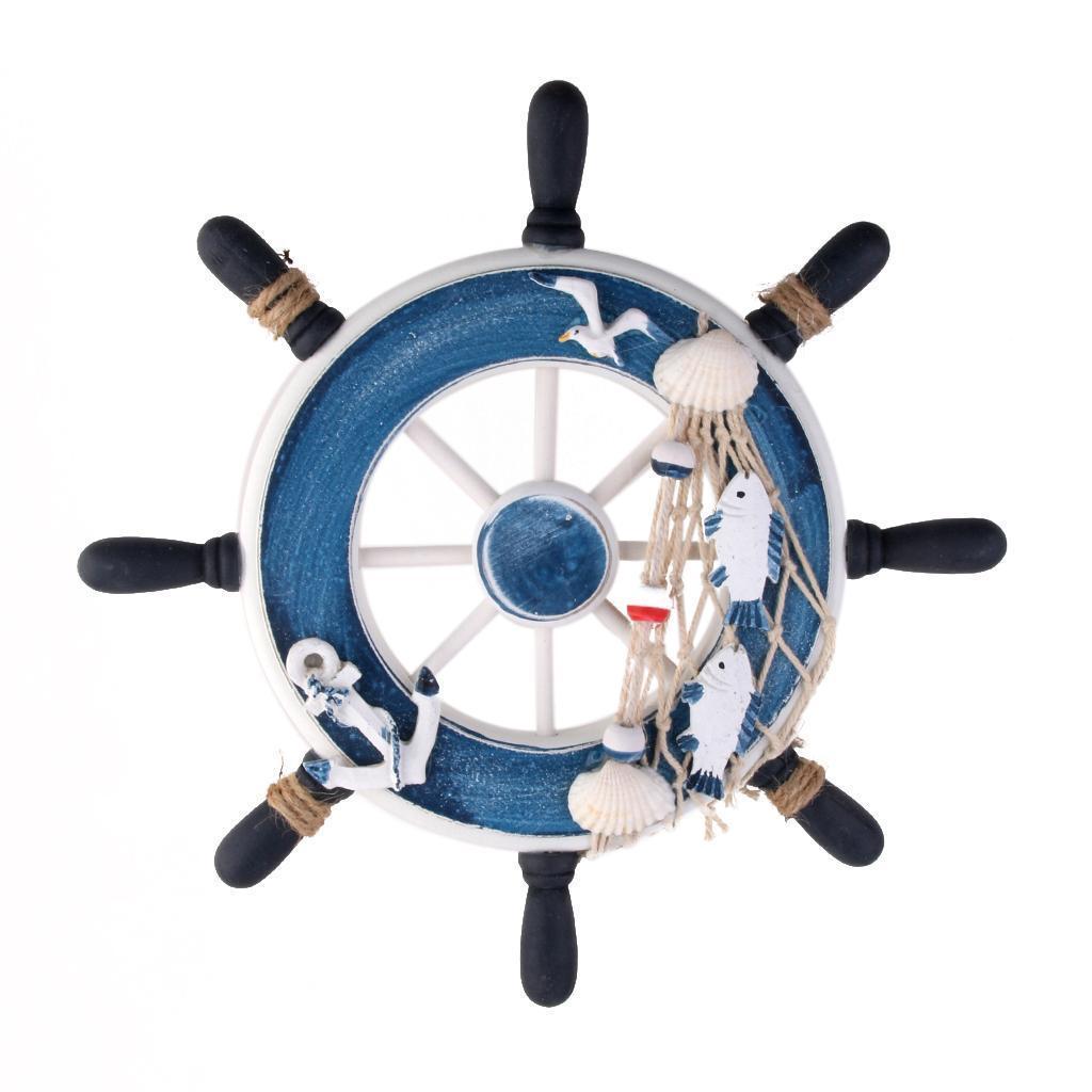 Wall Ornament Plaque Signs Nautical Wooden Seaside Sea Ship Anchor Wheel Blue