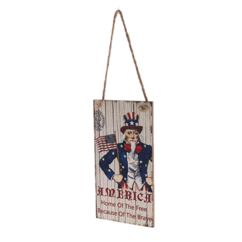 Rustic-Wooden-Hanging-Plaque-American-USA-Patriotic-Sign-Home-Wall-Decor thumbnail 9