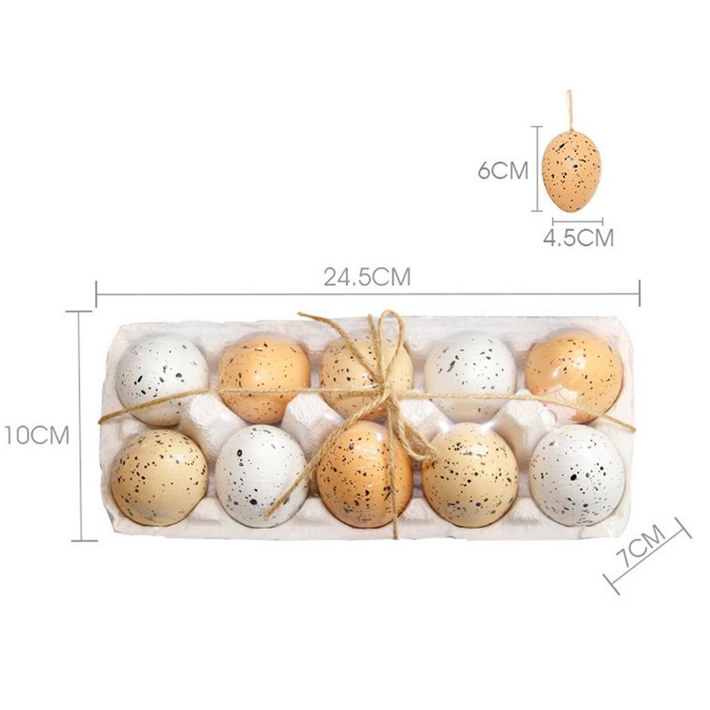 10pcs Easter Egg Ornaments Decorative Hanging Easter Eggs DIY Crafts Decor