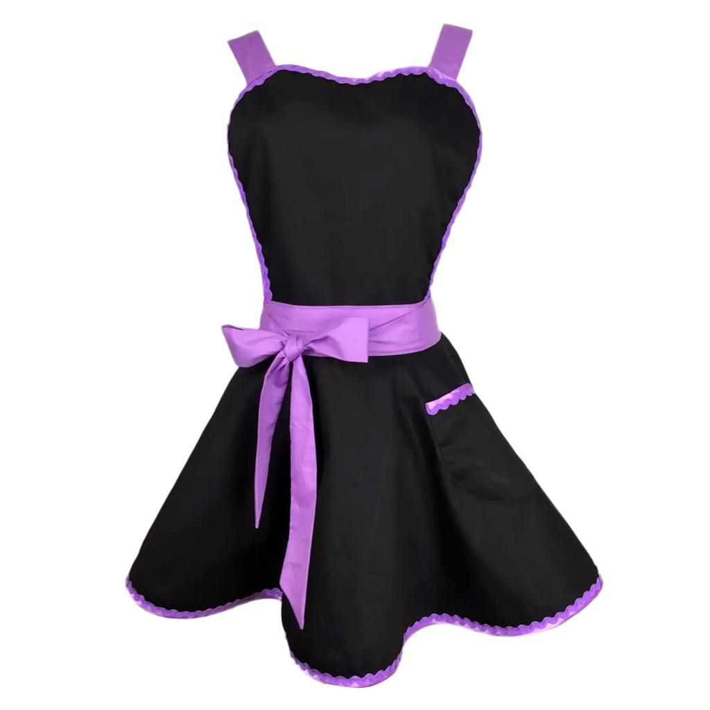 Korea Style Women/'s bib kitchen cooking apron with pockets Long Ties 5 Color