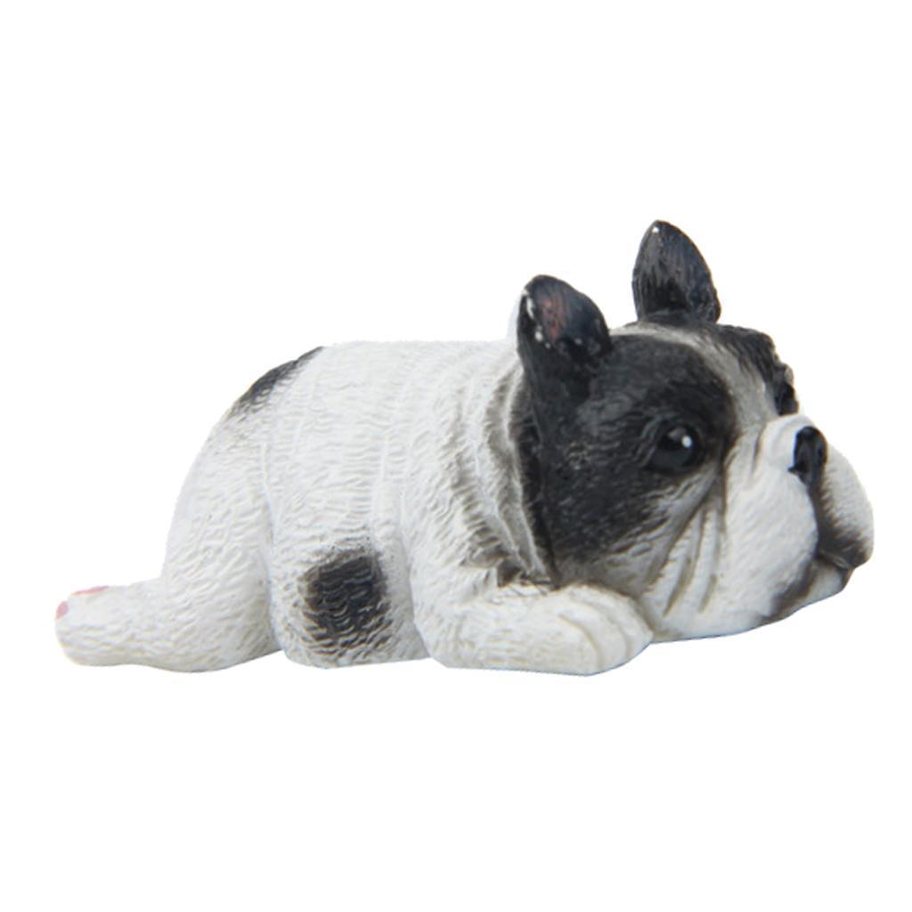 Miniatur Liegend Französische Bulldogge Hund Fee Garten Mikro Landschaft