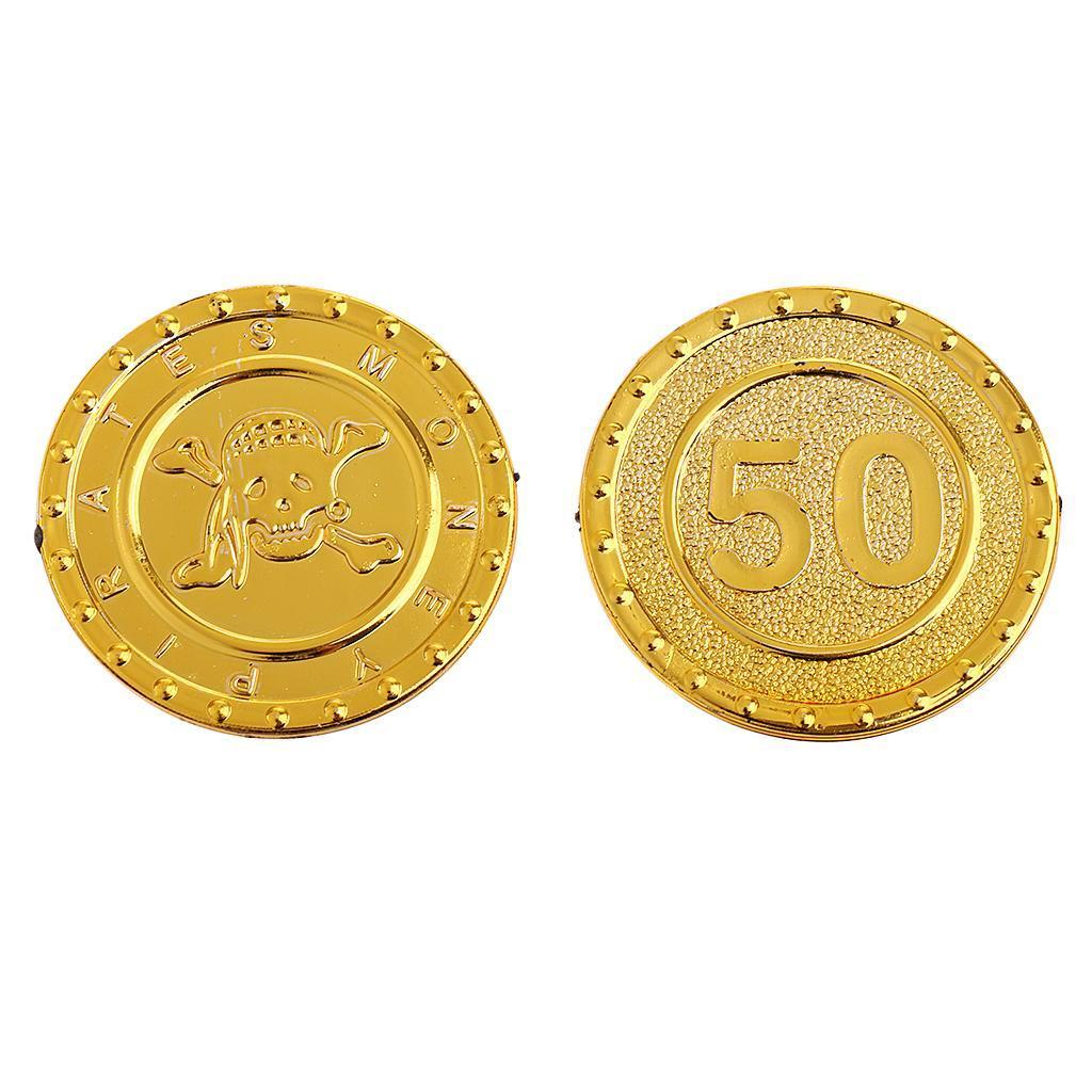 Piratenmünzen für Piratenparty, Kunststoff Münzen Gold Münzen