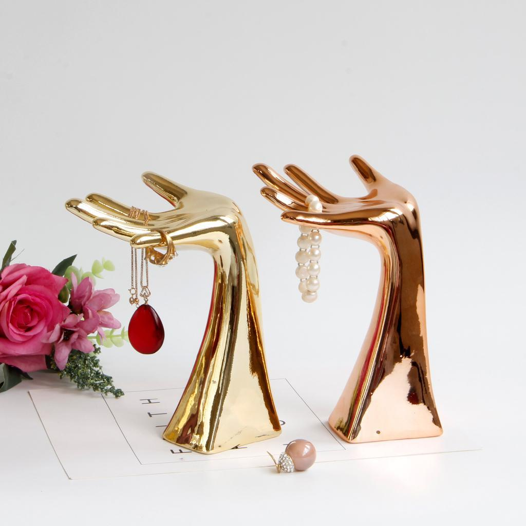 Rose Gold Jewelry Display Stand Necklace Finger Ring Organizer Holder Gold