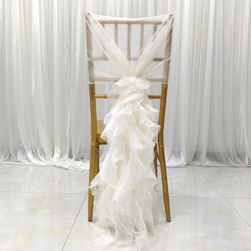Romantische Plissee Stuhl Chiffon Hauben Cover Hochzeit Veranstaltungsstuhl