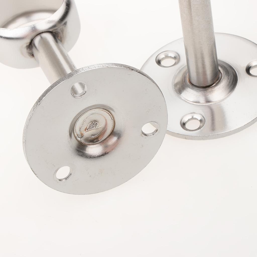 2x Bathroom Shower Curtain Pole Holder Socket Ceiling Mount Bracket Fittings