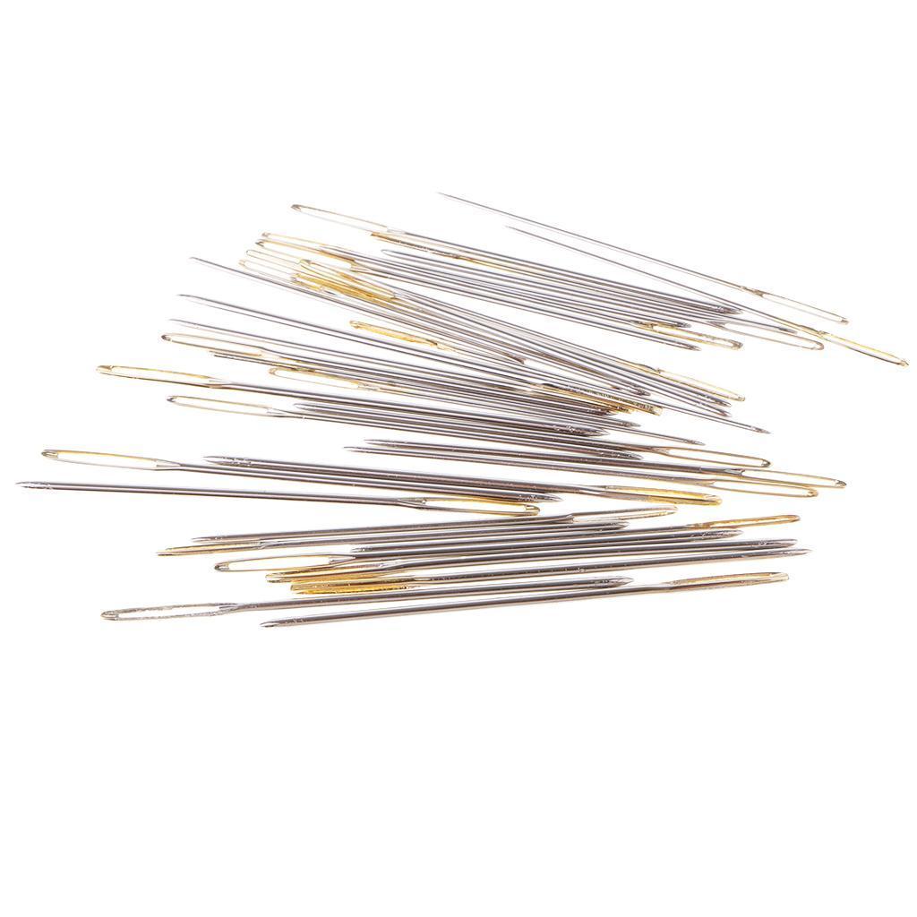 30 Stk Sticknadeln Stumpfe Nadel Set Metall Nähnadeln mit großem Öhr
