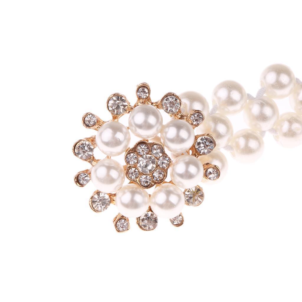 Frauen Perle Strass Schnalle Elastischer Gürtel Brautgürtel