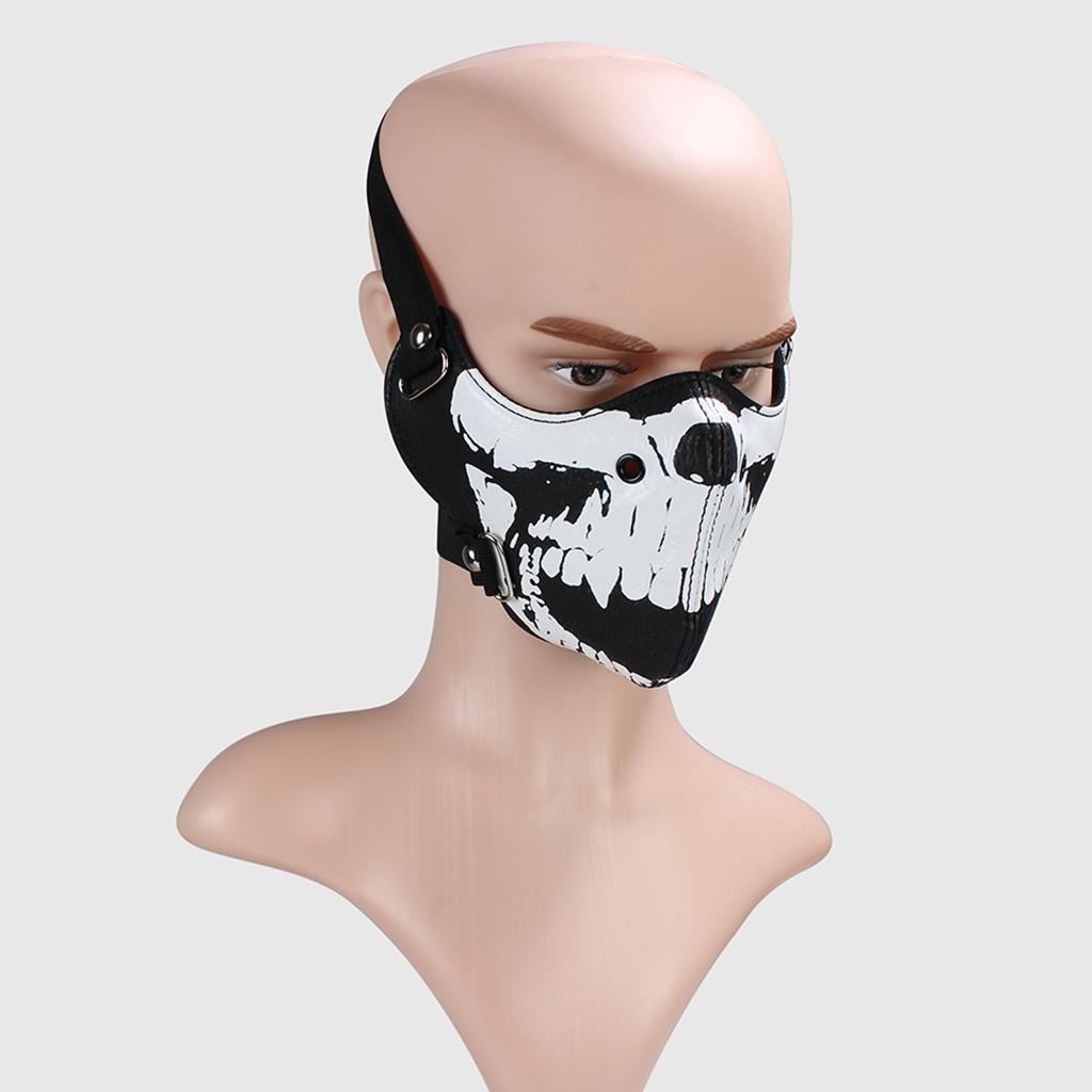 Punk Half Face Mask Steampunk Leather Skull Skeleton Props Ski Mask Rock Cosplay
