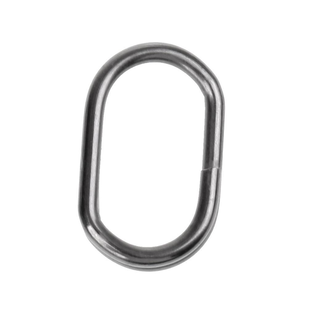 50pcs Sea Fishing Oval Split Ring Stainless Steel Snap Double Loop Rings