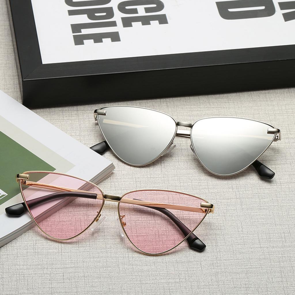 Fashion Cat Eye Sunglasses Women Mirror Shades Metal Frame Eyewear Designer