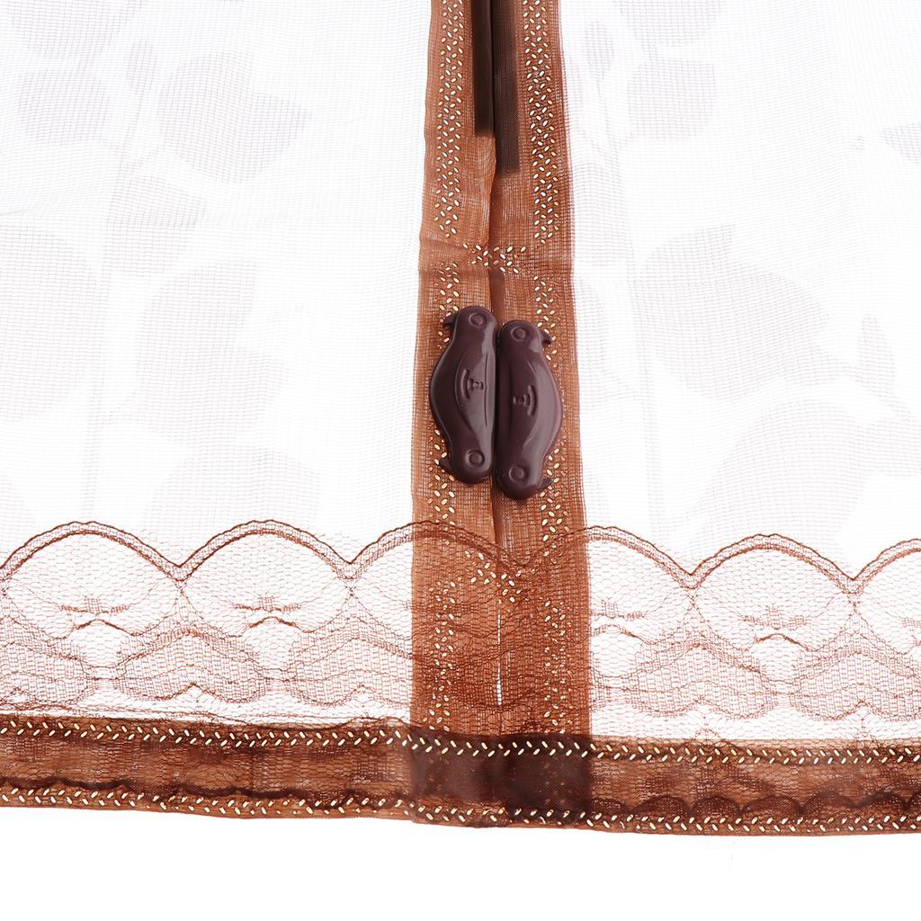 Door Curtain Mesh for Front Door and Home Outside Walk Through Easily Coffee